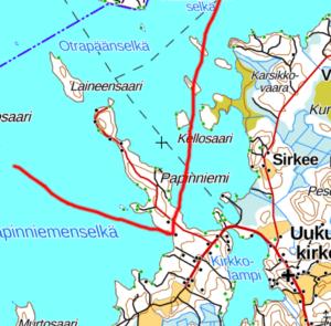 Karjalan Pyhäjärven Papinniemi kartalla. Kuva Heimo Paakkinen